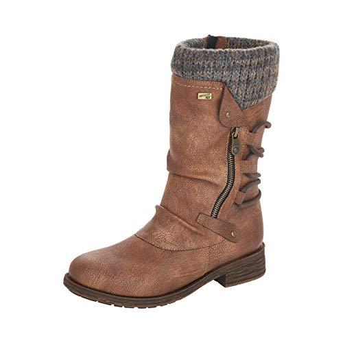 Remonte Damen Stiefel, Frauen Winterstiefel,remonteTEX, Winter-Boots langschaftstiefel gefüttert wasserfest warm,Braun(nut),38 EU / 5 UK
