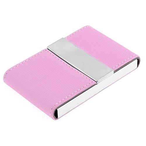 DealMux imitación de cuero Modelo rayado vertical caso titular de la tarjeta de visita, rosa