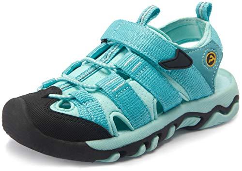 ATIKA CLSL Kids Closed Toe Sandals, Outdoor Hiking Water Sandals, Sport Athletic Beach Summer Shoes (Toddler/Little Kid/Big Kid), Toe Guard(k307) - Aqua, 9 Little Kid