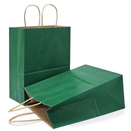 AZOWA Gift Bags Green Kraft Paper Bags with Handles (10.6 x 4.3 x 8.2 in, 12 CT)