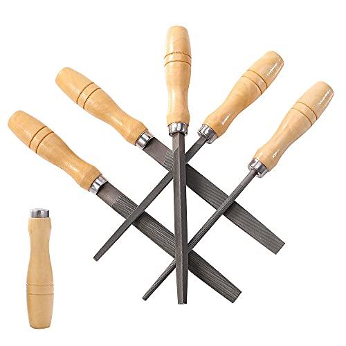 ACCOCO High Carbon Steel file lima, set di lime, con manici in legno per metallo, legno, plastica, 5 pezzi (Lime set)
