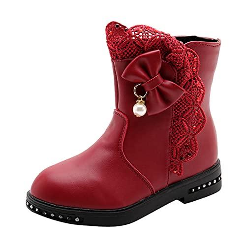 JDGY Zapatos de princesa para niña con cremallera, zapatos para bebé, zapatos para invierno, cómodos, antideslizantes, para el tiempo libre, Vino, 31