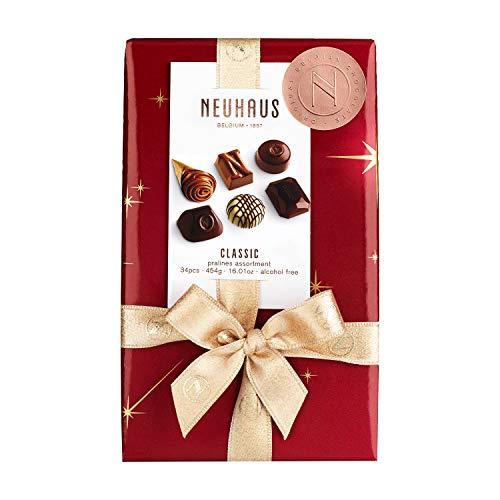 Neuhaus Belgian Chocolate Classic Holiday Ballotin Dark, Milk, White Assortment, Gourmet Chocolate Gift, 34 PCS - 1 lb