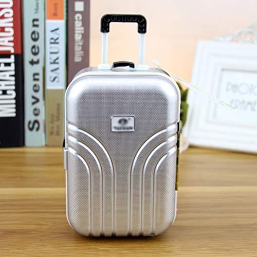 WBTY - Hucha con forma de cerdito (forma de maletín), Pelo sintético., plata