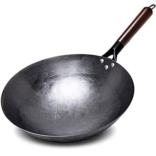 Iron Wok No-recubrimiento Woks Tradicional Hecho a mano Wok para la bandeja de cocina Mango de madera para cocina de cocina de cocina (Color : 30cm wok)