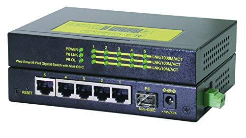 ROLINE 21131159 Industrie Gigabit Switch, 5X RJ-45, 1x LC, managebar