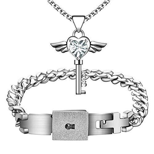 ANLW Titan Steel Armband Love Heart Lock EIN Paar Weibliche Schleuse Männliche Schlüssel-Halskette Schmuck-Accessoires, Männliche Armband + Weibliche Halskette