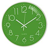 October Elf Reloj de Pared silencioso 30 cm Reloj sin tictac Reloj de Cuarzo con Pilas Redondo para Sala de Estar Dormitorios Oficina Cocinas Sala de Clase (Verde)