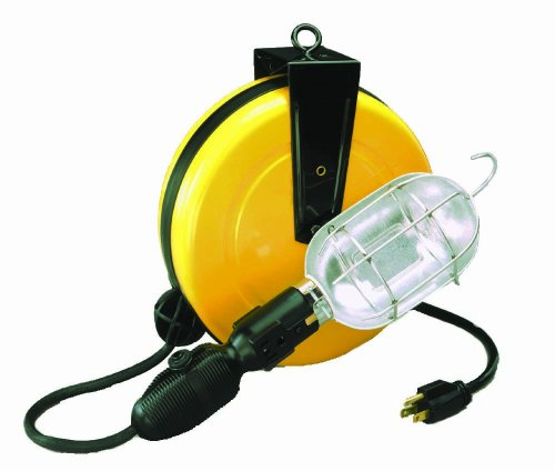 Alert Stamping 5000A-30GCB Professional Incandescent Retractable Cord Reel Work Light w/built-in circuit breaker