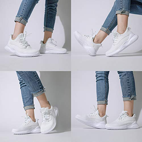Akk White Sneakers for Women Walking Shoes Comfortable Lightweight Womens Work Casual Tennis Shoes for Gym 9 US White