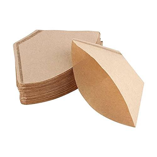 Gmasuber 200 unidades de papel de filtro de café sin blanquear conos tazas cafetera espresso filtro gotero marrón natural