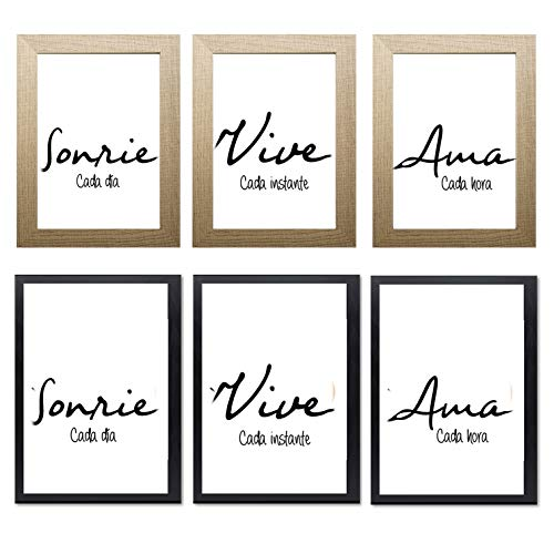 Triptico de Cuadros decoración salón o habitación moderno, impresos con frase motivadora' Sonríe, Vive, Ama' Elige tamaño y color del marco. Hecho en España.