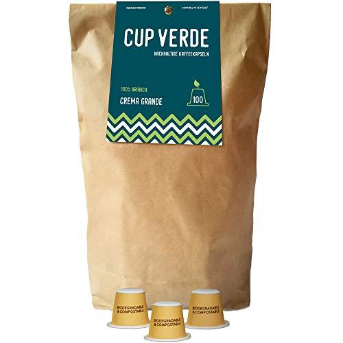 CUP VERDE - 100 nachhaltige Kaffeekapseln CREMA GRANDE. Nespresso* kompatibel. Kompostierbar - fair gehandelt - schonend geröstet. Biologisch abbaubar.