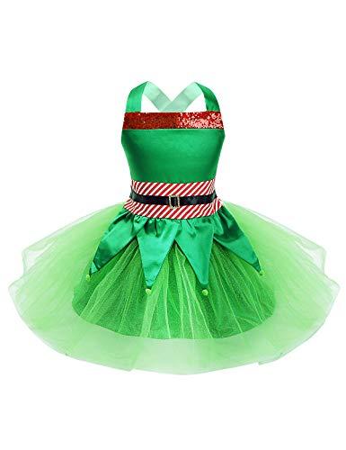 YiZYiF Disfraz Duende Verde Nias Vestido Navideo Tut Bebs Nias Disfraz Hada del Bosque 2Pcs Traje Navidad Disfraces Princesa Fiesta Halloween Carnaval Verde 2 Aos