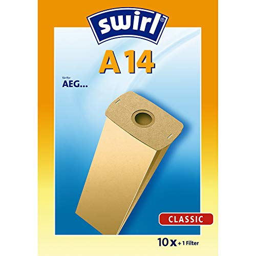 Swirl A 14 Spezialpapier Staubsaugerbeutel für AEG Staubsauger, Classic, 10 Stück + 1 Filter