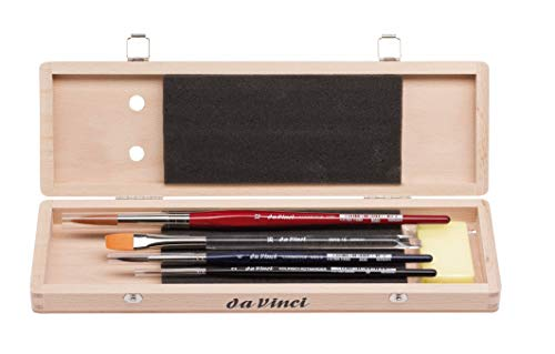 da Vinci Watercolor Series 5260 Deluxe Paint Brush Set, Synthetic with Wooden Storage Box and Brush Soap, Multiple Sizes, 4 Brushes (Series 18, 36, 5530, 5580)