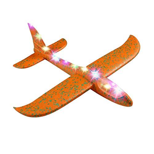 Primlisa Kinder Flugzeug Spielzeug Wurfgleiter mit Licht EPP DIY Manual Inertia Airplane Langlebiges Flugzeug Kinder Outdoor Wurfflugzeug Sportspielzeug Geschenk