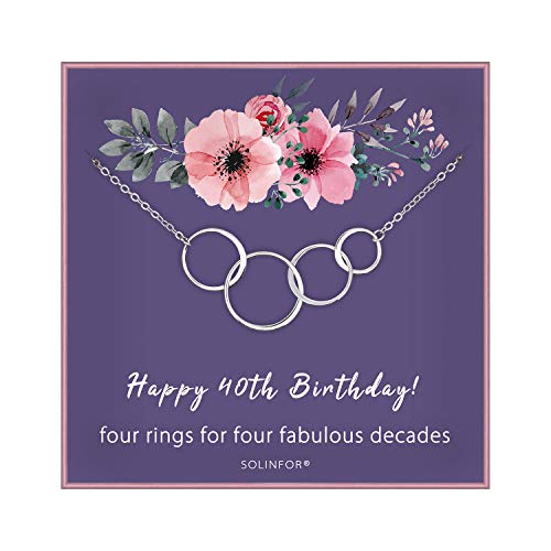 SOLINFOR 40th Birthday Gifts for Women - Sterling Silver Necklace with Gift Wrapping, Card - Four Circle for Her 4 Decade - 40 Years Old Jewelry Gift Idea