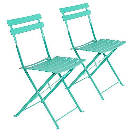Set de 2 sillas de jardín Plegables con láminas Curvas de Acero Turquesa de 80x46x41 cm - LOLAhome