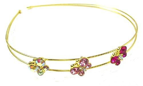 ton doré Papillon Rose Cristal Strass clair pierres Bandeau Cheveux Serre-tête diadème pour mariage Robe de demoiselle d'honneur Accessoires pour filles/femmes