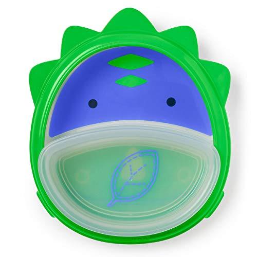 Skip Hop Placa antiderrapante para bebês, conjunto de treinamento de autoalimentação Zoo Smart, dinossauro