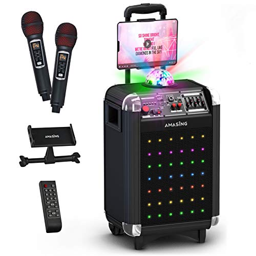 Karaoke Machine for Adults and Kids - Bluetooth Portable Singing Equipment PA Speaker System + 2 Wireless Microphones, Disco Lights, TV Cable - Best Birthday Gift for Boys & Girls (Black)