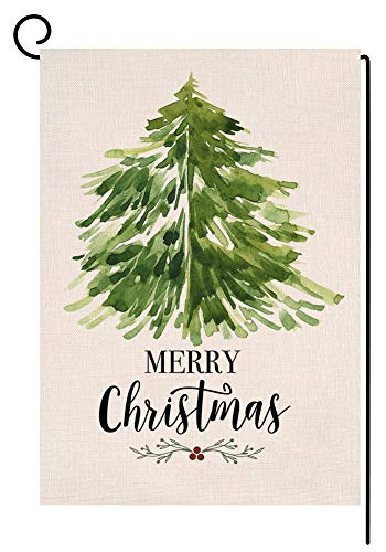 BLKWHT Christmas Garden Flag 12.5 x 18 Vertical Double Sided Winter Green Tree Outdoor Decorations Burlap Small Yard Flag S1002