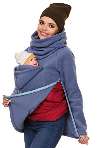 ODOKEI Mujer Sudadera Capucha Top Portador de bebé Forro Polar Embarazada Mujer Mamá Calentar Suéter Cómodo Bebé Encapuchado Bolsillo Cremallera Capa Multifunción Camisa Azul XL