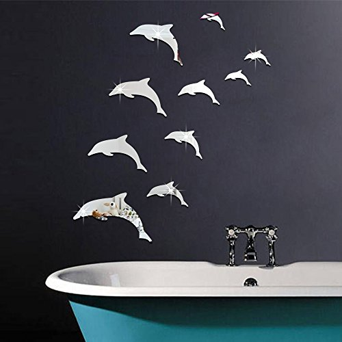 ufengke 10-pcs 3D Dolphins Mirror Effect Wall Stickers Fashion Design Art Decals Home Decoration Silver