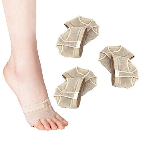 ULTNICE 3 Paar Ballett Cats Paw Ballenschutz - Size XL (Beige)