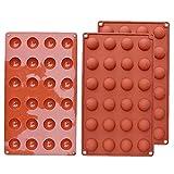 Hotaden 3 Packs Mini Molde Semi Esfera de Silicona, Silicona Media Esfera 24 de la cavidad para el Chocolate, Pastel, Crema Batida, Jalea, Caramelo decoración