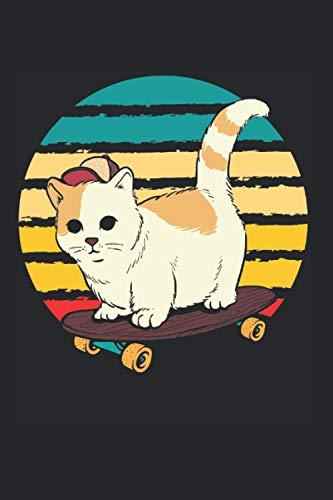 Notizbuch: Niedliches Skateboard Katze Vintage Skating Kitty Notizbuch DIN A5 120 Seiten für Notizen Zeichnungen Formeln | Organizer Schreibheft Planer Tagebuch