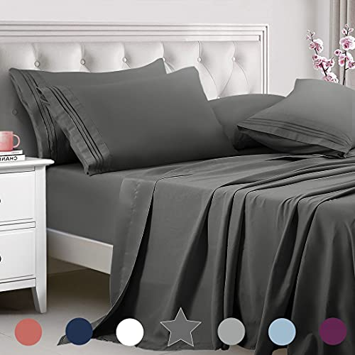TEKAMON Queen Bed 6 Piece Sheet Set Cooling 100% Microfiber Polyester Extra Deep Pocket Fitted Sheet Luxury Soft,Breathable,Wrinkle Free Flat Sheet Dark Grey