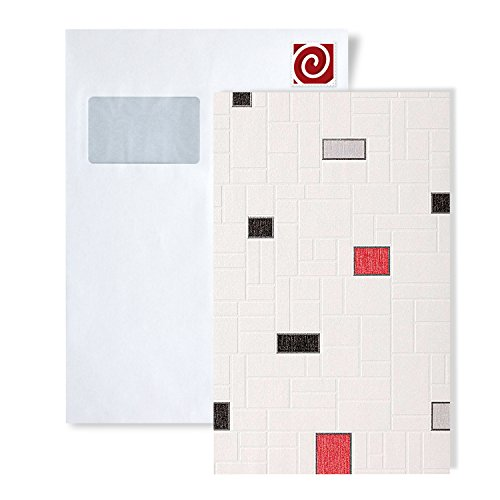 Behang STAAL EDEM 584-serie   Tegel behang voor keuken en badkamer vrolijk wit met rood reliëf behang behangpapier, S-584-XX:S-584-26