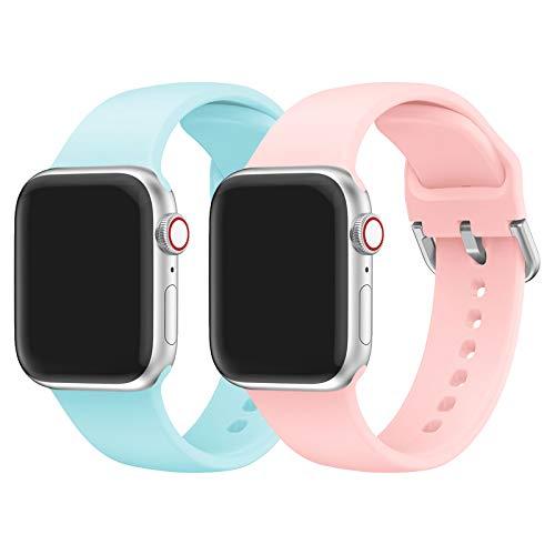 Sycreek Compatible para Apple Watch 38mm 40mm 42mm 44mm Hombres Mujeres, Reemplazo Ligero Impermeable Banda de Reloj Correa de Silicona Compatible con iWatch Series 6 5 4 3 2 1 SE