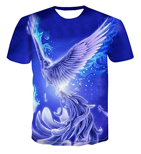 HOHHJFGG Unisex 3D Printed Summer Purple Phoenix Print Short Sleeve Round Neck Casual Men's T-Shirt top T-Shirt