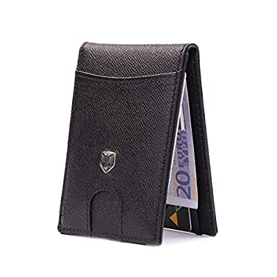 CHQEL Money Clip Leather Wallet - Mens Wallets Slim Front Pocket RFID Blocking Geniune Leather Card Holder Minimalist Bifold with Gift Box (Black)