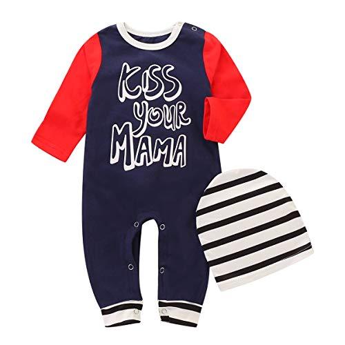 2pcs / set Infant Baby KISS VOTRE MAMA Imprimer Barboteuses Salopette À Manches Longues Toddler Salopette & Striped Hat Cap Vêtements (Size : 110)