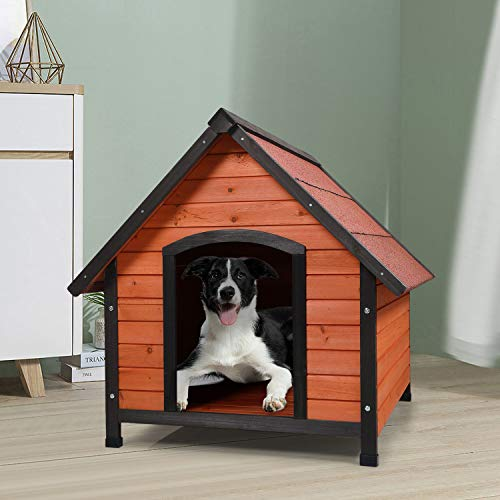 "COZIWOW 33""x39""X33"" Wooden Dog House for Large Medium Dogs Outside Weatherproof, Wood Indoor Outdoor Pet Cat House Kennel Crate, Medium Dog Houses"