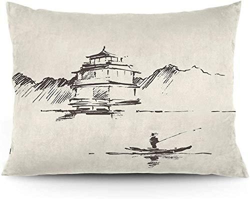 Keyboard cover Funda de cojín con dibujo de paisaje oriental con pagoda pescador de hombre y montaña, funda de cojín impresa, 45,6 x 50,6 cm