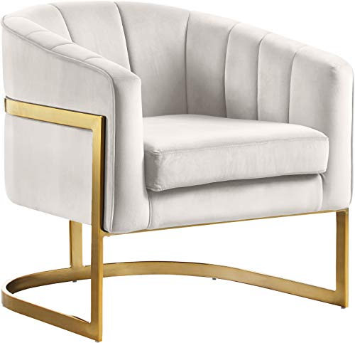 Meridian Furniture Carter Collection Modern | Contemporary Upholstered Velvet Barrel Accent Chair with Gold Stainless Base, Cream, 30' W x 29' D x 30' H