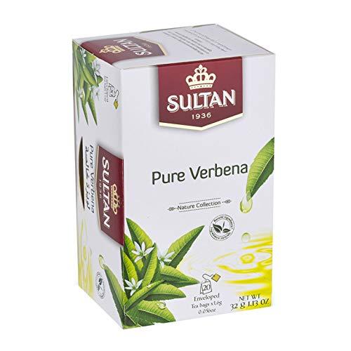 TÉ SULTAN Verbena pura, tés marroquíes a base de hierbas (Paquete individual - 20 bolsitas de té)