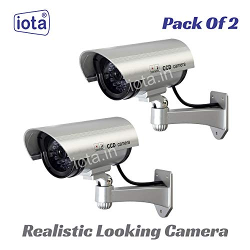 iota 2Pcs Dummy CCTV Camera with Blinking Red LED Light. for Home Or Office Security Camera