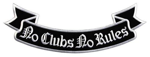 No Clubs No Rules Biker Backpatch Rückenaufnäher XXL ca. 33,5 x 11,5 cm