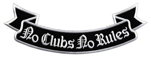 No Clubs No Rules Biker Back Patch Wolfszeit – Parche para espalda XXL aprox. 33,5 x 11,5 cm