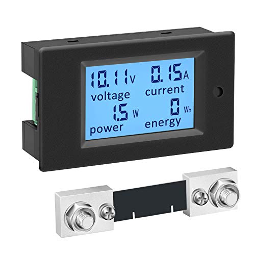 DC Power Meter, DROK 6.5-100V 100A 12V 24V 36V 48V 60V 72V Volt Amp Watt Meter, LCD Display Multimeter Voltage Current Energy RV Battery Monitor Voltmeter Ammeter Wattmeter Panel with 100A Shunt