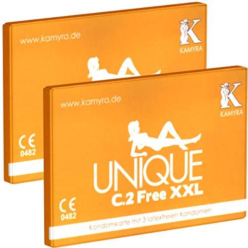 Kamyra Unique C.2 Free XXL Condom Card, gelb - Kondomkarte mit großen latexfreien Kondomen mit flacher Basis und 66mm nominaler Breite - DOPPELPACK - 2 x 3 Stück