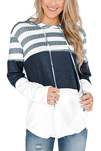 GOLDPKF Women Ladies Fall Color Block Striped Tunic Hoodie Lightweight Soft Patchwork Pullover Hooded Sweatshirts Knit Tops Work White Medium