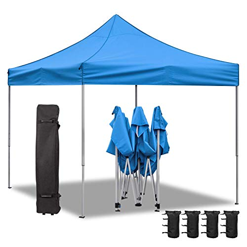 pop up shade tents Homall 10X10 Ft Pop Up Canopy Ez Up Canopy Tent Commercial Instant Shelter Patio Sun Shade Canopies with Roller Bag, 4 Canopy Sand Bags(Blue)