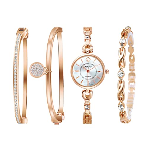 Clastyle Conjunto Relojes de Pulsera Mujer Oro Rosa Elegant Reloj Mujeres Diamante de Imitación con 3 Brazaletes, Plata